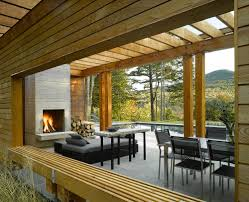 pool house interior. Fireplace And Smart Seating Inside The Contemporary Pool House [Design: Wagner Hodgson] Interior