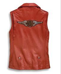 harley davidson reg women s red leather biker vest asymmetrical zipper