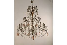 large antique crystal chandelier macaroni drops photo