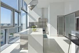 modern white floors. White Kitchen Caesarstone Quartz Counters Stainless Appliances View Windows Cococozy Ultra Modern Floors