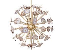 agate burst chandelier brass