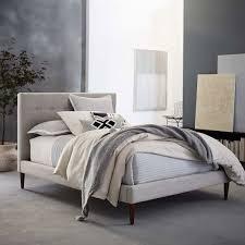 Grid-Tufted Upholstered Tapered Leg Bed   west elm