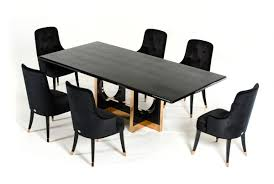 Modern Black High Gloss Crocodile And Rose Gold Large Dining Table