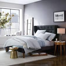 west elm bedroom furniture. Marvelous Tweed Midcentury Winged Headboard Bed With Solid Wood Legs Pic Of West Elm Bedroom Furniture