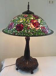 tiffany stained glass lamp. Vintage Dale Tiffany Brass Lamp With Rose Stained Glass Shade | EBay N