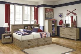 Wooden Bedroom Set Present Twin Bed Frame With Storage And Bookshelves  Headboard Also Dresser