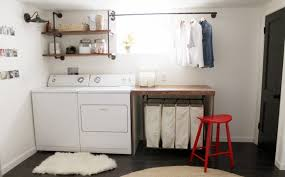 unfinished basement laundry room makeover. Utility Room Makeovers Elegant Unfinished Basement Laundry Makeover  Design With Red Flooring Unfinished Basement Laundry Room Makeover E