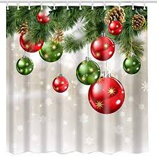 Image Unavailable Amazon.com: BROSHAN Christmas Shower Curtain Sets, Baubles