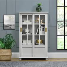 ameriwood furniture magnolia hill bookcase with sliding glass doors gray