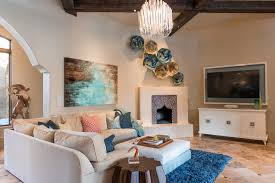 Moroccan Inspired Living Room With Blue Accents And Neutral Backdrop (Image  15 of 25)