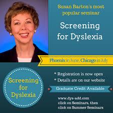 Screening for Dyslexia is Susan Barton's most popular summer seminar.  Registration is now open. Click here to see detai… | Dyslexia teaching,  Dyslexia help, Seminar