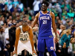 42 and philadelphia 76ers center joel embiid 21 during the second half in game five of the second round of the 2018 nba playoffs at the td garden