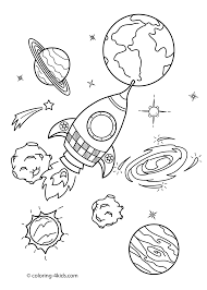 Small Picture Space coloring pages for kids with rocket printable free