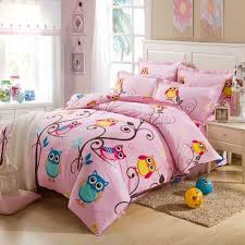 pink and colorful nature night owl print jungle animal 100 cotton kids and teen girls twin full size bedding sets
