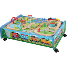 30 piece wooden train set with train table trundle brio and thomas