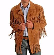 mens traditional leather western wear brown suede leather jacket fringe ons
