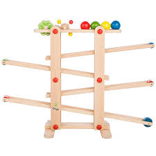 ultrakidz natural wood marble run with 4 and rolling toys