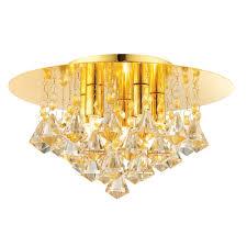 disc renner 5 light flush ceiling fitting champagne crystal glass gold effect