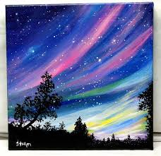 nice reserved northern lights original acrylic painting on x stretched canvas