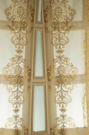 com gold silk organza with gold medallion embroidered window sheer curtain panel 52 w x 84 l home kitchen