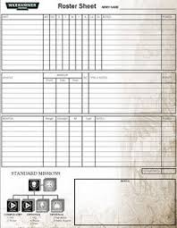 Pit Of The Oni Warhammer 40 000 Roster Sheet