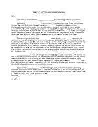 Generic Letter Of Recommendation Sample Example Letter Recommendation Teacher Tripevent Co
