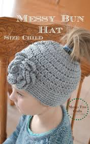 Free Crochet Hat Patterns For Toddlers Adorable Messy Bun Hat Free Crochet Pattern Size Child
