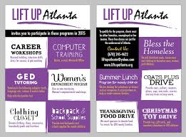 our projects liftup atlanta we work the homeless shelters in the atlanta area other non profit organizations and the homeless directly by serving dinners providing basic needs