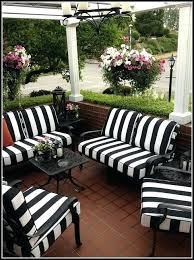 black outdoor patio furniture and white striped cushions cute where to