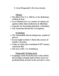 the great gatsby gatsby themes and symbols doc