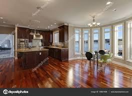 open floor plan interior of luxury waterfront home stock photo