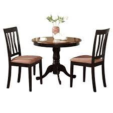 3 Piece Dining Set Black Round Kitchen Table Plus 2 Dining Room Chairs 3 Piece Dining