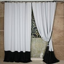 simple modern style white and black polyester artificial fiber blend blackout curtains