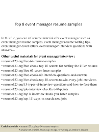 Top 8 event manager resume samples In this file, you can ref resume  materials for ...