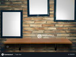 empty top wooden shelves on brick wall with photo frame background photo