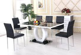 white leather dining room set black white high gloss glass dining table set and 6 leather white leather dining room