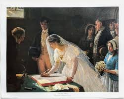 vintage new unframed fine art print signing the register by edward b leighton marriage