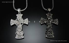 snake celtic cross pendant chain necklace silver plated mens biker jewelry
