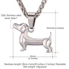 Dog Design Jewelry U7 Cute Pet Dog Design Pendant Jewelry Stainless 18k Gold Plated Dachshund Pendant Necklace