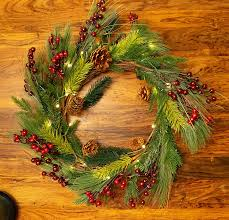 Red Co 22 Inch Light Up Christmas Wreath With Pinecones Pine Plug In Operated Led Lights