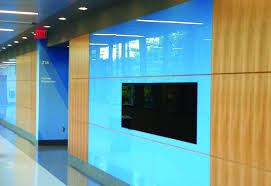 dreamwalls color glass in custom brilliant blue for wake tech installation nc