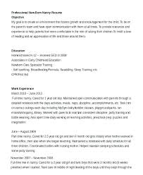 Sample Resume For Nanny Fishingstudio Com