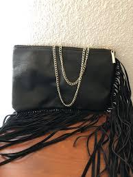 y black leather fringe purse