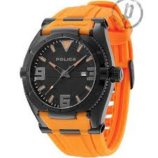 17 best images about police watches stainless steel police mens orange rubber strap black dial raptor watch 13093jsb 02a online price