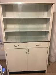 vintage metal cabinet hutch cupboard with sliding glass doors