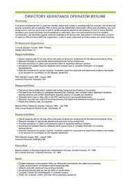 Assistance In Writing A Resumes Sample Directory Assistance Operator Resume
