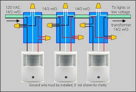 how to wire 2 or more motion sensors to the same lights Motion Detector Wiring Diagram drawing of actual wire connections for installing multiple motion sensors motion detector wiring diagram free