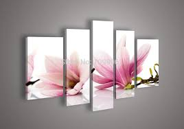 hand painted magnolia flower oil painting modern wall art 5 piece large canvas picture for living