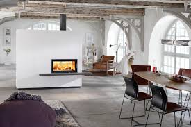 white wall bulkhead with double sided fireplace and dark wooden panel in the industrial room theme