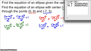equation of an ellipse given 2 points